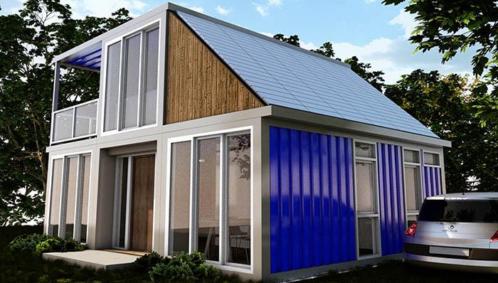 Woonhuis Cube - Stalen buitenkant op kleur gespoten blauw