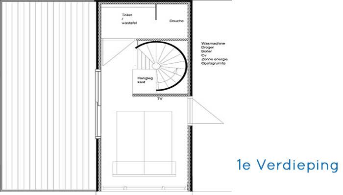 Woonhuis Cube - Indeling Eerste verdieping 4 containers