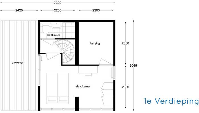 Woonhuis Cube - Indeling eerste verdieping