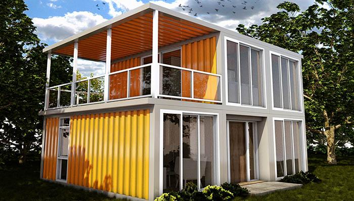 Woonhuis Cube - Oranje gespoten