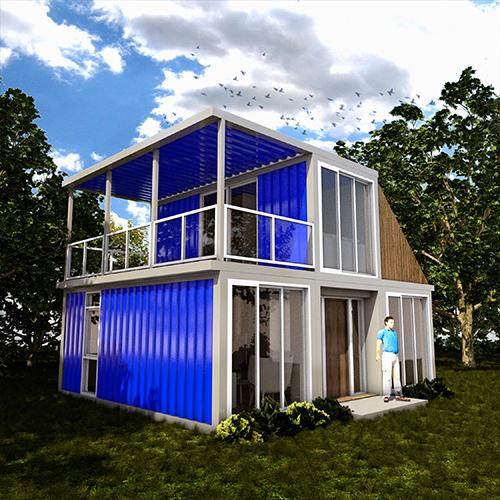 Woonhuis Cube - Stalen afwerking blauw voorzijde
